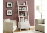 I 2562 - WHITE 69″H LADDER BOOKCASE WITH 2 STORAGE DRAWERS BY MONARCH SPECIALTIES INC