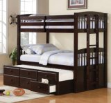 KINGSTON TWIN / TWIN BUNK BED with CAPTAIN TRUNDLE BED WITH DRAWERS