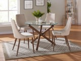 Rocca/Cora 5pc Glass Dining Set in Beige