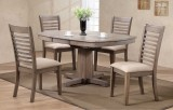 "VENTURA 57"" PEDESTAL TABLE & 4 CHAIRS IN GREY WASH FINISH BY WINNERS ONLY"