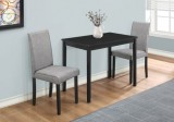 I 1016 - DINING SET - 3PCS SET / BLACK / GREY LINEN PARSON CHAIRS