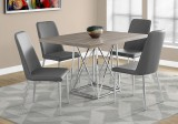 "I 1057 - DINING TABLE ONLY - 36""X 48"" / DARK TAUPE / CHROME METAL"