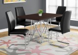 "I 1058 - DINING TABLE ONLY - 36""X 48"" / CAPPUCCINO / CHROME METAL"