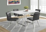 "I 1063 - DINING TABLE ONLY - 36""X 60"" / WHITE / CHROME METAL"