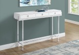 "I 3297 - ACCENT TABLE - 48""L / GLOSSY WHITE / CHROME METAL by Monarch Specialties Inc"