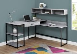I 7160 - COMPUTER DESK - GREY / BLACK METAL CORNER BY MONARCH SPECIALTIES INC