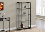"I 7241 - BOOKCASE - 60""H / DARK TAUPE / BLACK METAL BY MONARCH SPECIALTIES INC"