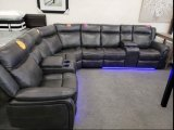 Marcelo 4PC Power Recliner Sectional with 2 Consoles in Grey Leather Gel