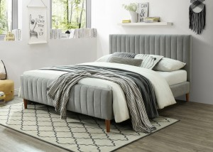 "Hannah 60"" Queen Platform Bed in Light Grey by Worldside Homefurnishings Inc"