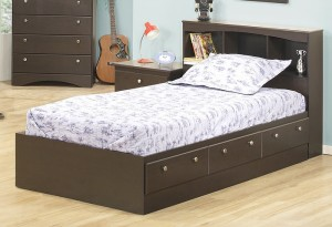 271 Series - Twin Mates Bed with a Bookcase Headboard in Cappuccino