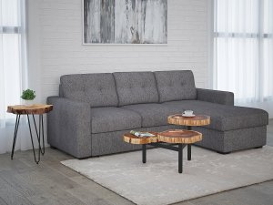 "Tyson Sectional Sofa with Bed & Storage, 93.25"" in Charcoal by Worldwide Homefurnishings Inc"