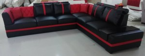 ALEXIA - SECTIONAL IN BLACK & RED MICROFIBRE LEATHER