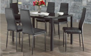 8b123de89965 CONTRA - 7PCS MODERN GLASS DINING TABLE SET WITH FAUX LEATHER CHAIRS ...