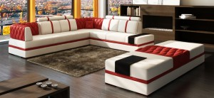 SECTIONAL IN MICROFIBRE LEATHER IN RED AND WHITE
