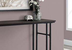 "I 3578 - ACCENT TABLE - 48""L / ESPRESSO / BLACK METAL HALL CONSOLE BY MONARCH SPECIALTIES INC"