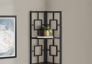 "I 3610 - BOOKCASE - 62""H / BLACK / BLACK METAL CORNER ETAGERE BY MONARCH SPECIALTIES INC"