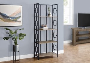 "I 3616 - BOOKCASE - 62""H / DARK TAUPE / BLACK METAL ETAGERE BYMONARCH SPECIALTIES INC"