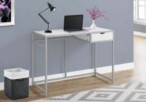 "I 7222 - COMPUTER DESK - 42""L / WHITE / SILVER METAL BY MONARCH SPECIALTIES INC"