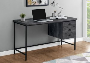 "I 7488 - COMPUTER DESK - 55""L / BLACK RECLAIMED WOOD / BLACK METAL BY MONARCH SPECIALTIES INC"