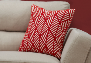 "I 9208 - PILLOW - 18""X 18"" / RED GEOMETRIC DESIGN / 1PC"