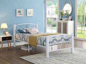 IF-111 - Double Metal Bed Frame in White By International Furniture