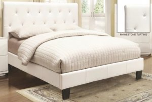 GLITZ QUEEN PLATFORM BED WITH RHINESTONES - WHITE