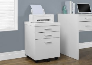 I 7048 - WHITE HOLLOW-CORE 3 DRAWER FILE CABINET ON CASTORS BY MONARCH SPECIALTIES INC